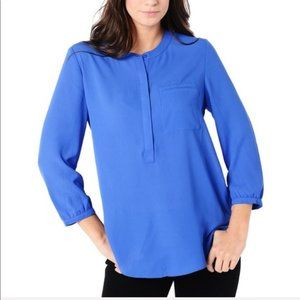 NYDJ 3X Blue Button Down Blouse Tunic Top
